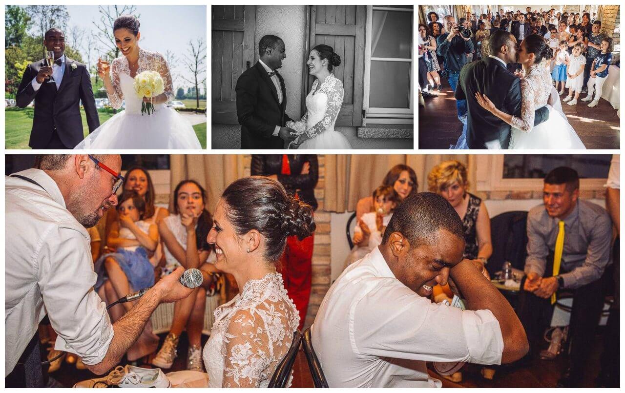 matrimonio agriturismo antico benessere Bergamo: gli sposi in festa